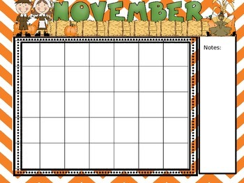 Chevron Style Editable Calendar Set