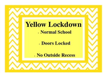 Chevron Style Lockdown Procedures Classroom Poster-A Quick Reference