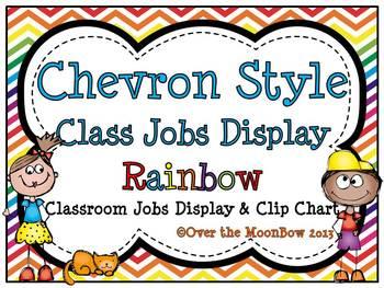 Chevron Style ~Primary Rainbow Classroom Jobs Display & Cl