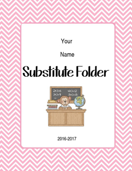 Chevron and/ or School Background Editable Substitute Folder Forms