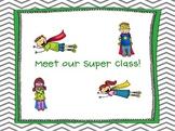Chevron Superhero Bulletin Board Poster Set