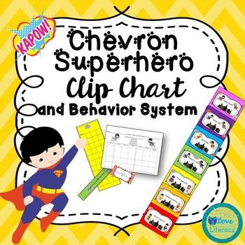 Chevron Superhero Clip Chart and Behavior System
