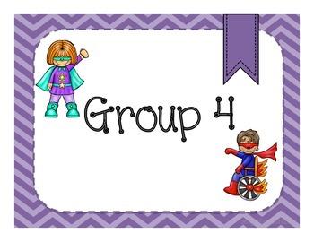 Chevron Superhero Group Signs: 1-6
