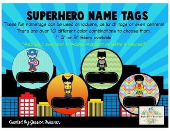 Chevron Superhero Tags-Editable