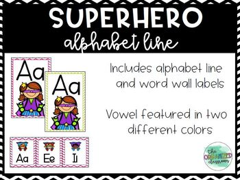 Chevron Superhero Word Wall Labels