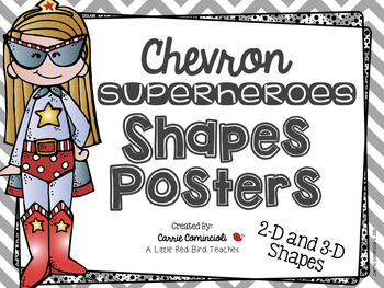 Chevron Superheroes (2nd Edition) Shapes Posters