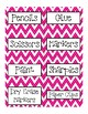 Labels for the classroom in Chevron ~4 Colors~ Classroom Supplies and Word Wall