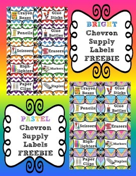 Chevron Supply Labels in Bright and Pastel Colors