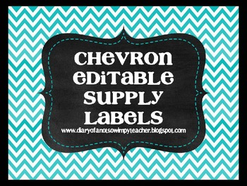 Chevron Supply and Math Manipulative Labels EDITABLE