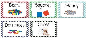Chevron Supply labels including school, recess, word work, math supplies