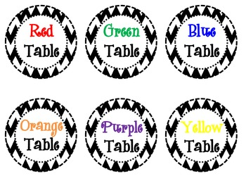 Chevron Table Labels
