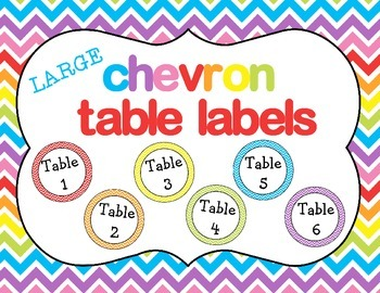Chevron Table Labels LARGE