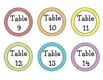 Chevron Table Labels {Numbers 1-16}