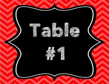 Chevron Table Name Signs - Horizontal