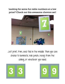 Chevron Table Number Printables or Center Number Printable
