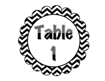 Chevron Table Number Signs