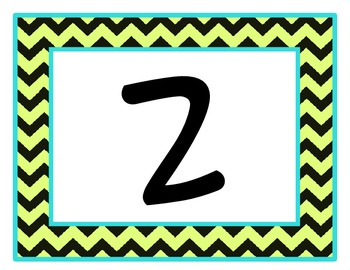 Chevron Table Numbers (Bright blue, Lime, Black)