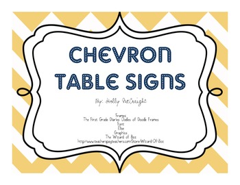 Chevron Table Signs