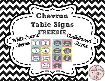 Chevron Table Signs in Chalkboard & White Frame