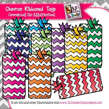 Chevron Tags with Ribbons