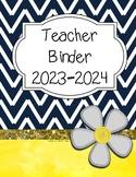 Teacher Binder 2017-2018 (Navy Chevron, gray, yellow theme)