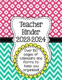 Chevron Teacher Binder Organization Bundle w/ Editable Bin
