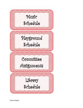 Chevron Teacher Board Labels
