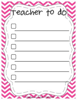 Chevron Teacher To Do Checklist