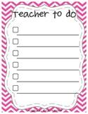 Chevron Teacher To Do Checklist