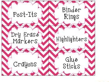 Chevron Teacher Toolbox Labels -- Classroom Organization