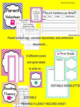 Chevron Teacher and Substitute Binder / Organization Binder {Yearly}