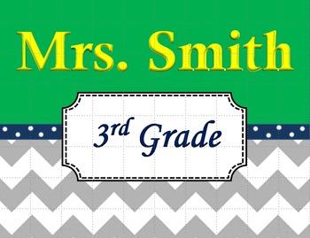 Chevron Teacher's Name Sign Green and Navy