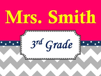 Chevron Teacher's Name Sign Pink and Navy