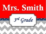 Chevron Teacher's Name Sign Red and Navy