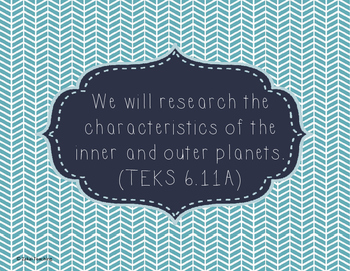 Chevron Teal 6th grade Science TEKS