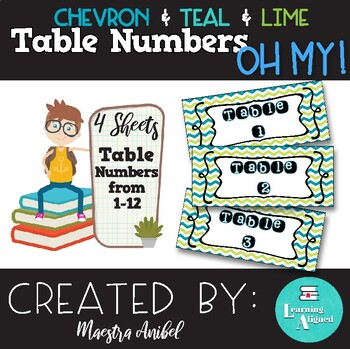 Chevron Teal Lime Table Numbers