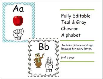 Chevron Teal and Gray Alphabet