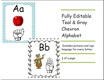 Chevron Teal and Gray Alphabet and Number Bundle Set