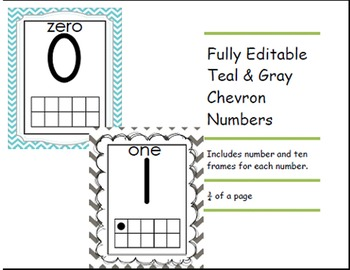 Chevron Teal and Gray Numbers