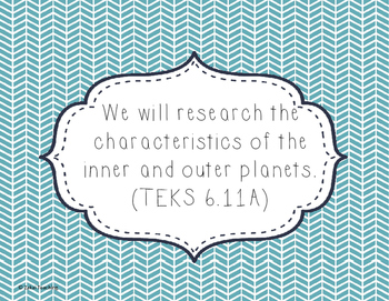 Chevron Teal and White 6th grade Science TEKS