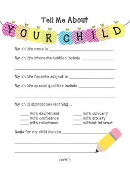 "Chevron ""Tell Me About Your Child"" Form"