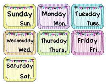 Chevron Theme Calendar Set