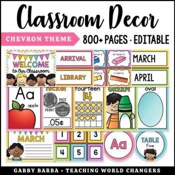 Rainbow Chevron Classroom Decor Bundle {500+ pages!}
