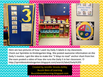 Daily 5 & Math Center Labels- Chevron Theme  (Teal, Pink, & Yellow)