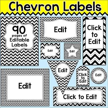 Chevron Theme Labels - Black and White