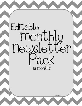 Chevron Theme Monthly Classroom Newsletters