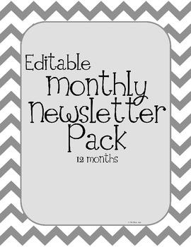 Chevron Theme Monthly Classroom Newsletters