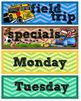 Chevron Theme Subject Pocket Chart Schedule Signs