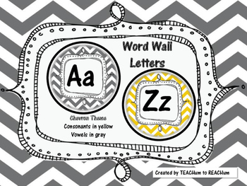 Chevron Theme - Word Wall Alphabet