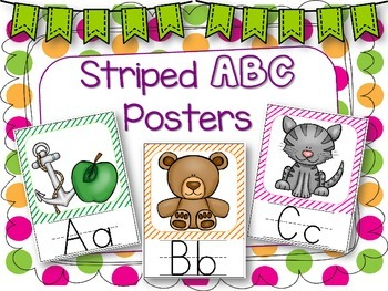 Stripe Themed ABC Posters